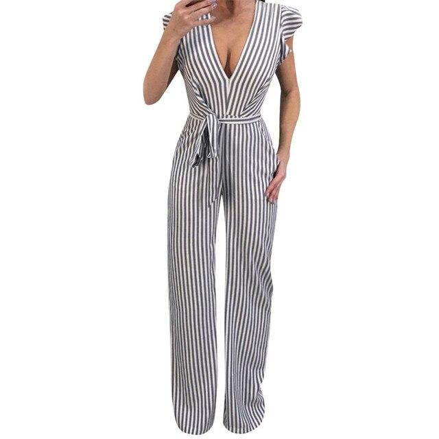 f59eb4a27f85 2019 Hot Sale New Fashion Women Summer Sleeveless Striped Halter Ruffle  Sexy Jumpsuit Romper Jumpsuit Sexy multi stripe M4