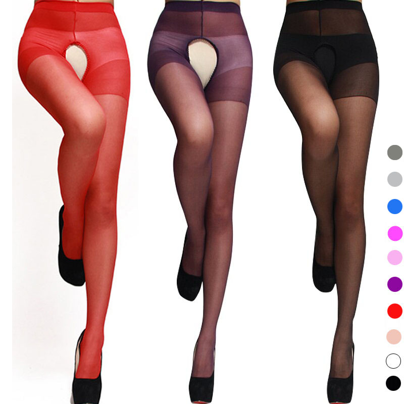 Sexy Woman Cortchless Stockings Lingerie Ultra Elastic Silk Stockings Sheath Tight For Hot Cuddly Girl Open Crotch Pantyhorse