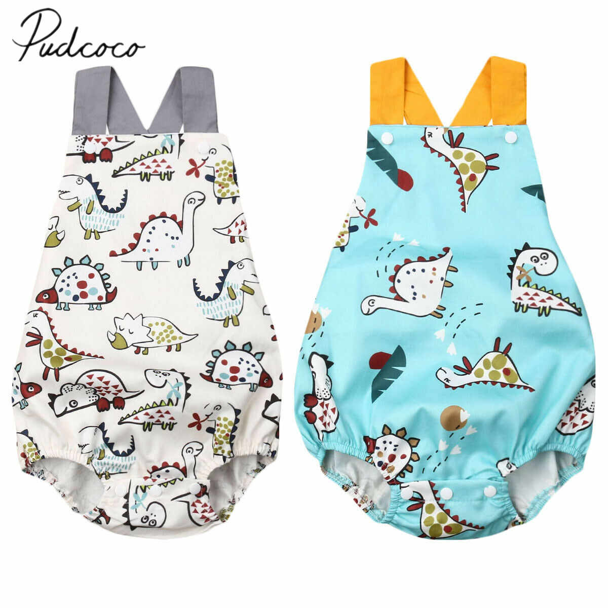 2019 Baby Summer Clothing 0-3Y Toddler Baby Boy Girl  Cute Bodysuit Sleeveless Cartoon Dinosuar Print Jumpsuit Outfits Sunsuit