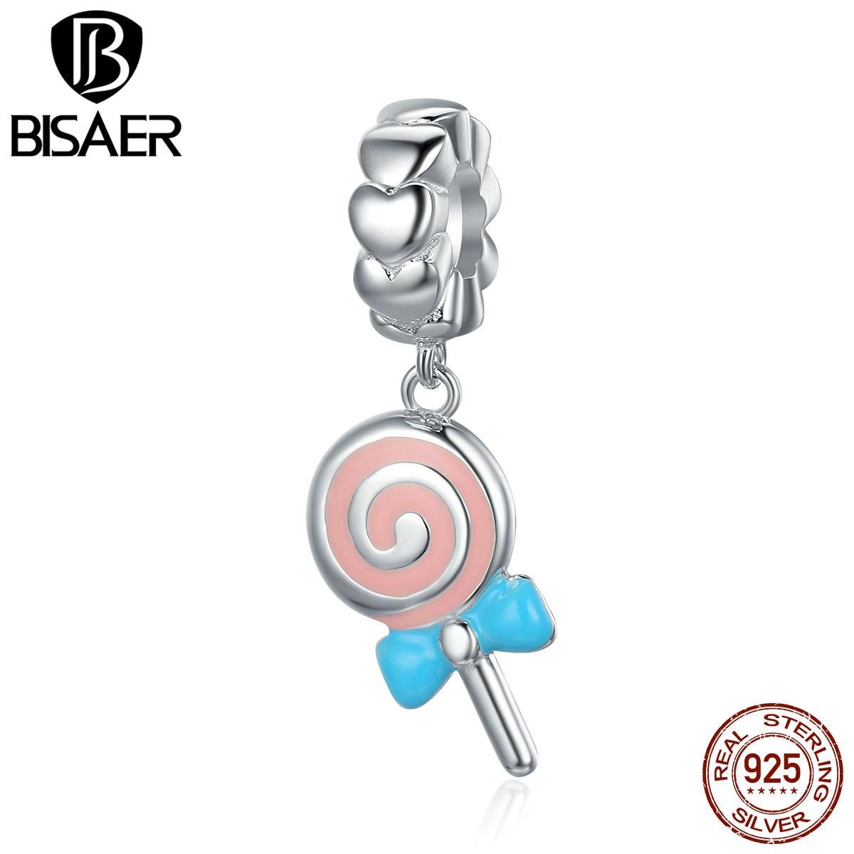 Genuine 925 Sterling Silver Sweet candy Lollipop Sweetie Pendant Charms fit Original PAN Charm Bracelet DIY Jewelry GXC349