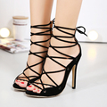 2017 Spring black Women's shoes with heels stiletto shoes Roman style ankle strap heels sandals sexy female footwear heels 35-40