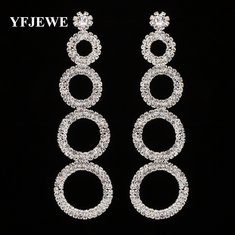 YFJEWE Wholesale Price New 2 Color Crystal Long Drop Earrings Bridal  Wedding Party Accessories Dangle Earrings 519c43cbc84b