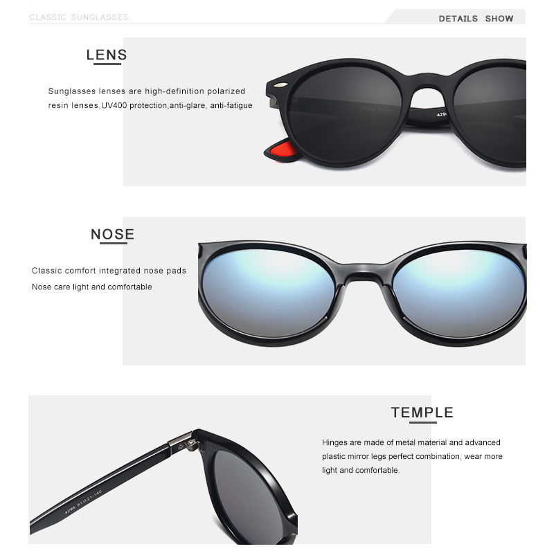 OLEY Brand Men Women Classic Retro Rivet Polarized Sunglasses Fashion circular design 100% UV400 Protection Accept custom logo
