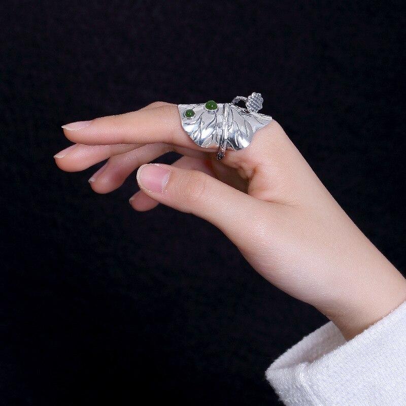 Anneaux jaspe véritable ethnique pour femmes élégance 925 bijoux en argent Sterling pierres précieuses bague Lotus cadeau d'anniversaire anneau réglable