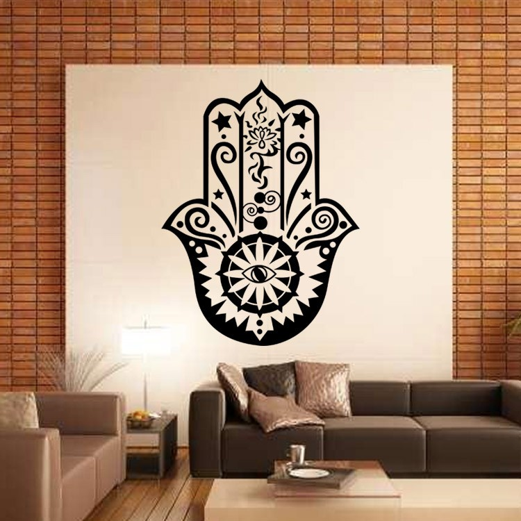 buckoo fatima yoga diy wall stickers decals india buddha home furnishing fisheye atmosphere lotus decorative murals - Design Wall Decal