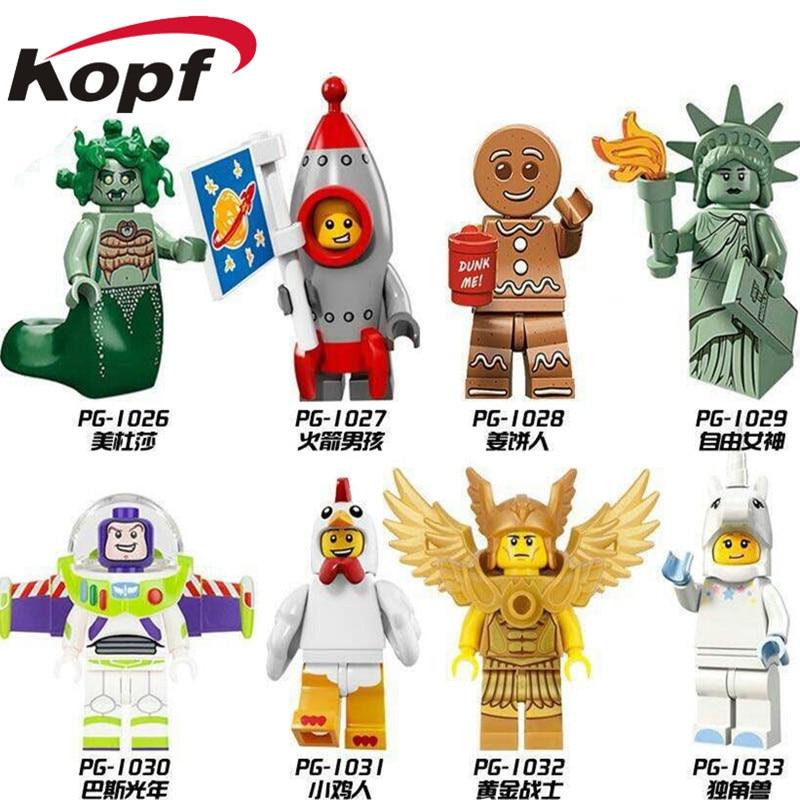 Inhumans Royal Family Gingerbread Man Medusa Rocket Boy Chicken Suit Unicorn Girl Building Blocks Best Children Gift Toys PG8061 uncanny inhumans vol 4