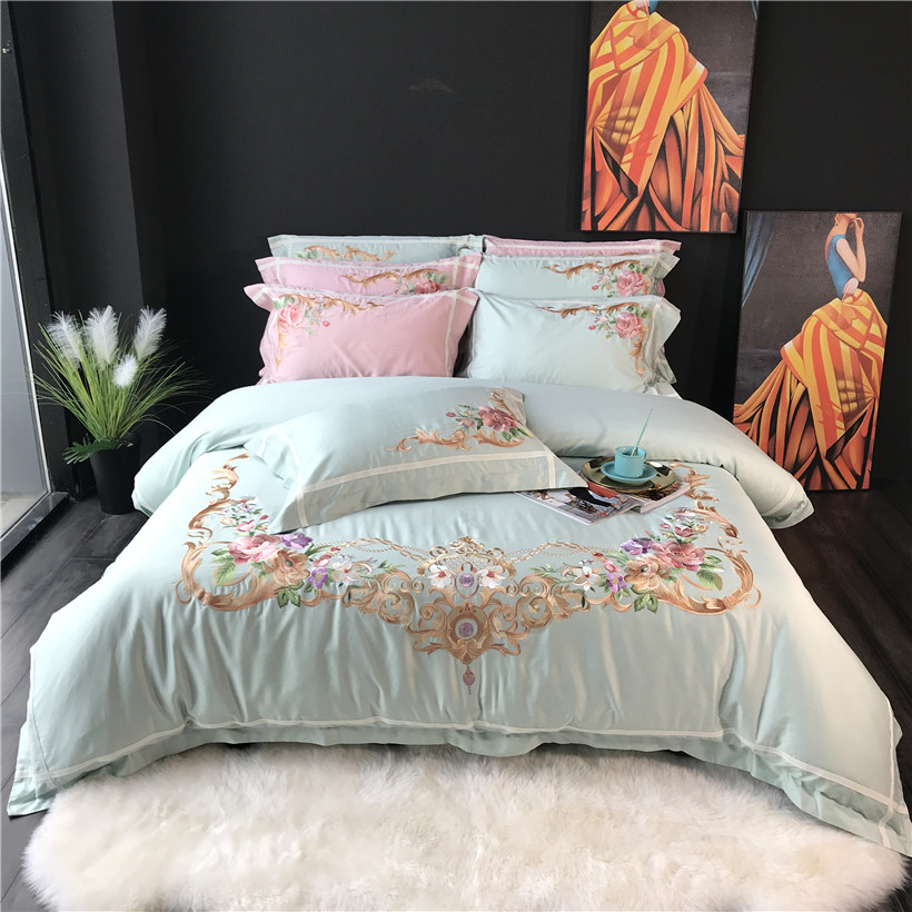 Juego de cama de algodón egipcio bordado Oriental juego de sábanas de lino king queen juego de edredón de lujo juego de cama linge de lit-in Juegos de ropa de cama from Hogar y Mascotas    1