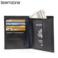 Free Shipping New Business Mens Genuine Leather Passport Bifold Wallet Travel Credit Card Holder Organizer Coin