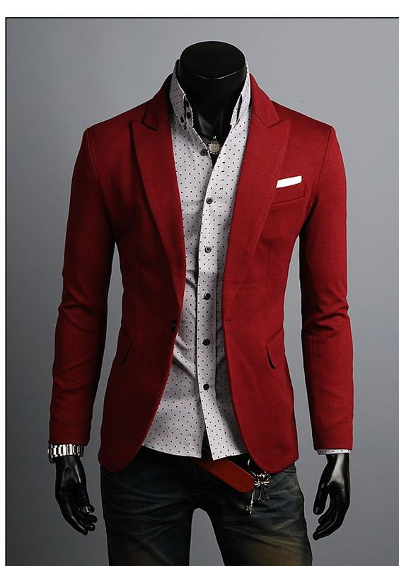 2016 Win Red Casual Style Blazer For Men Slim Fit Wedding