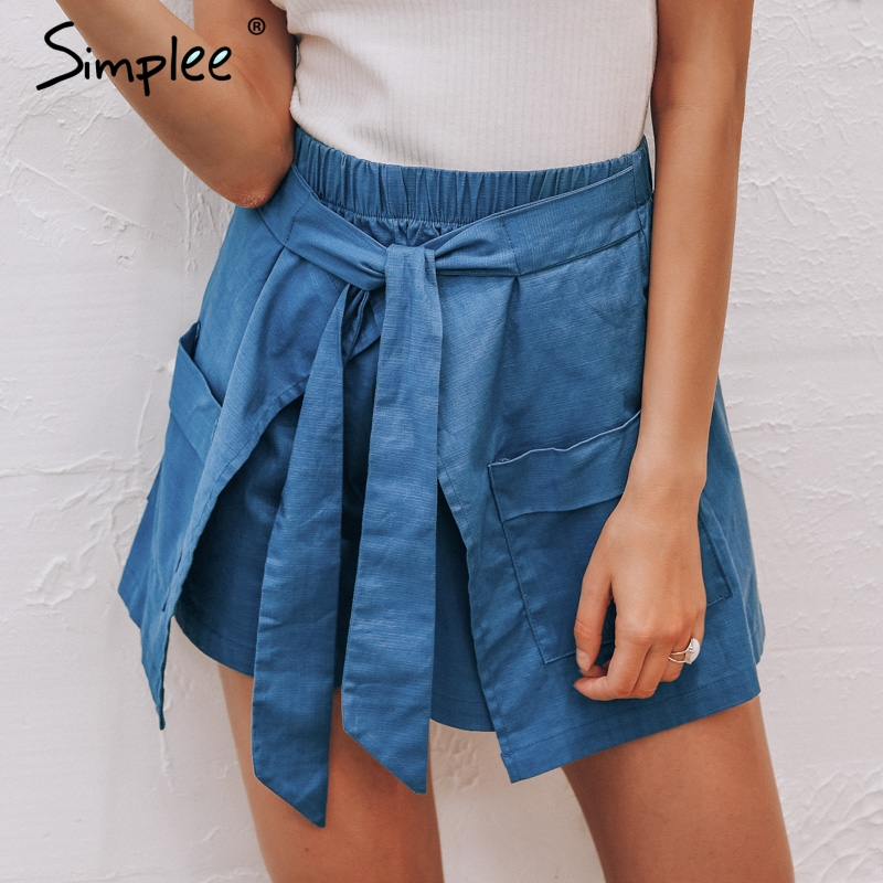 Simplee High waist linen shorts women cotton Bow tie sashes pocket hot pants casual streetwear short pants Female sexy shorts