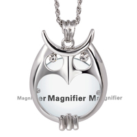 New Arrival Nice Fashion OWL Crytals Necklace Reading Glass Pendant Women Necklaces With Magnifying Glass Pendants