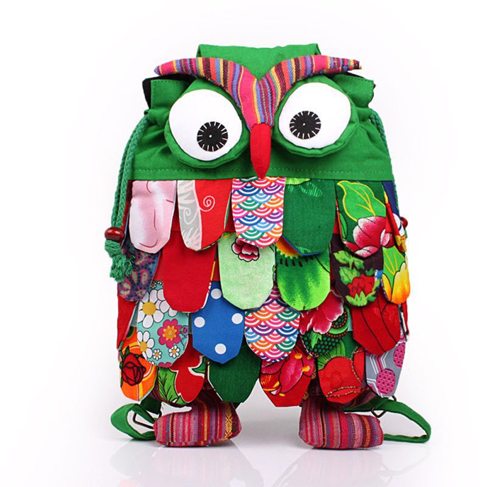 ФОТО Medium Floral Cotton Owl Bag Bagpack Backpack for Kids Girl Children Hasp Drawstring Cartoon Cute Owl Backpack 4 Layers Feathers