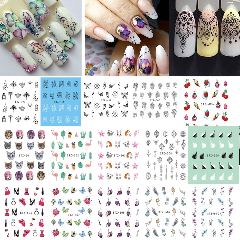 1 Sheets Colorful Summer Nail Art Water Tattoo Fruit Series ...