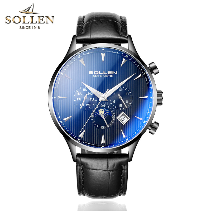 SOLLEN Mens Watches Top Brand Luxury Moon Phase Automatic Mechanical Watch Men Casual Fashion Leather Strap Skeleton Wristwatch winner watch fashion black leather strap skeleton luxury design clock men watches top luxury mechanical wristwatch gift
