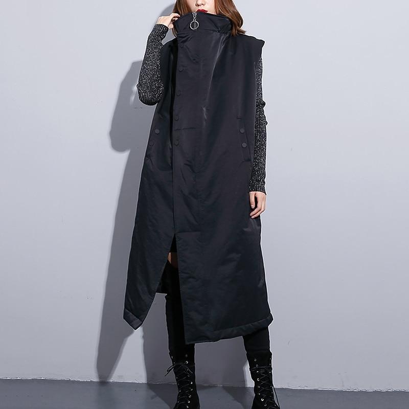 Longue Veste Sans Noir Gilet Mode Zipper Nouveau Pour Revers Lâche Femme Manches Femmes De D'hiver Automne Oversize x44w0zqH
