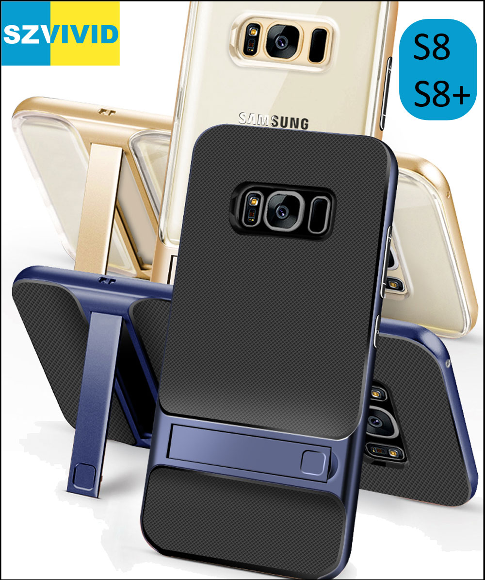 Stand Holder Kickstand Case for Samsung Galaxy S8 Plus Hybrid Slim Armor Protector Clear Transparent Cover