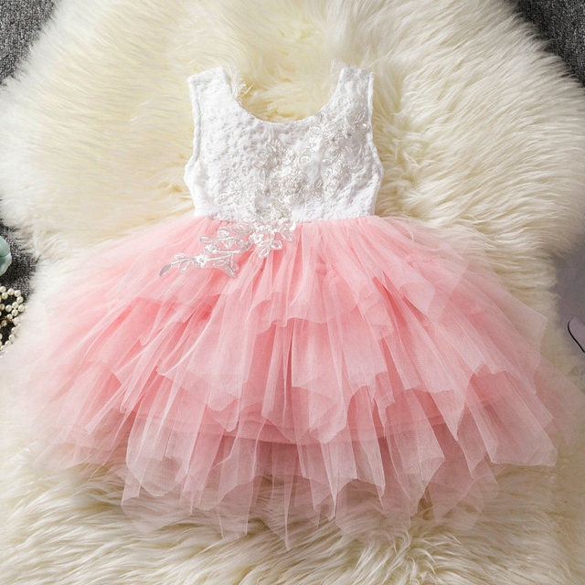 Baby Girl Dress 1 2 3 Year Birthday vestido infantil Toddler Party Dress Smash Tutu Beading Floral Backless Bebes Baptism Dress