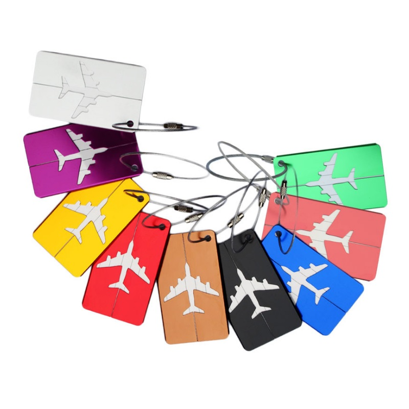 200pcs Aluminum Alloy Plane Luggage Tags Boarding Aircraft Baggage Card Mix Colors wen6626