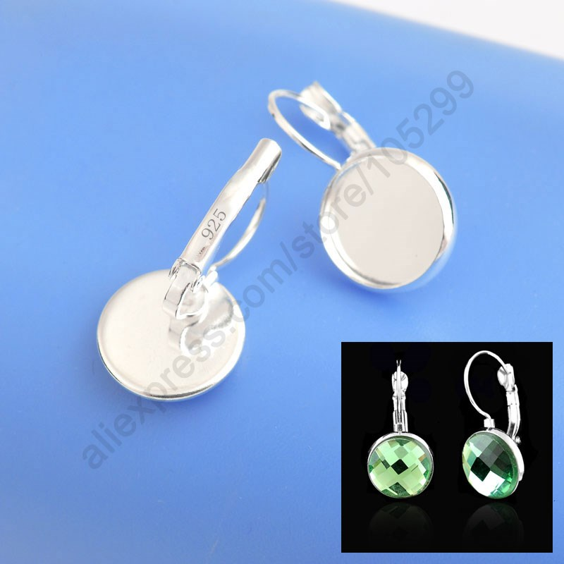 50PCS Solid 925 Sterling Silver Jewelry Findings 12MM Flat Disco Cabochon Cameo Settings Earring French Lever Back
