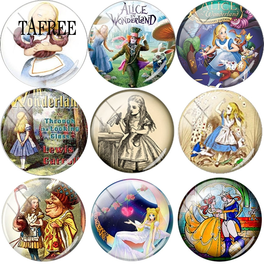 TAFREE Cartoon Girl Picture Round 12/16/18/20mm Glass Cabochon Dome For Bracelet Necklace Earrings Charms Jewelry Findings(China)