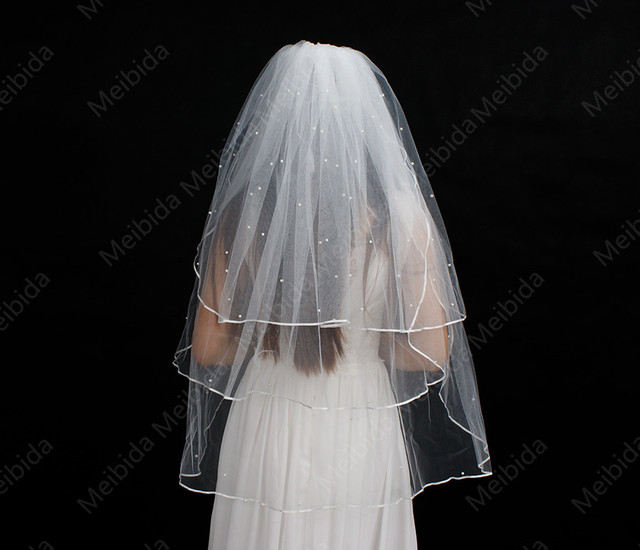 New Arrival 2016 White & Ivory Short Three Layer Wedding Veils With Comb Luxury Beaded Bridal Veils High Quality Voile Mariage