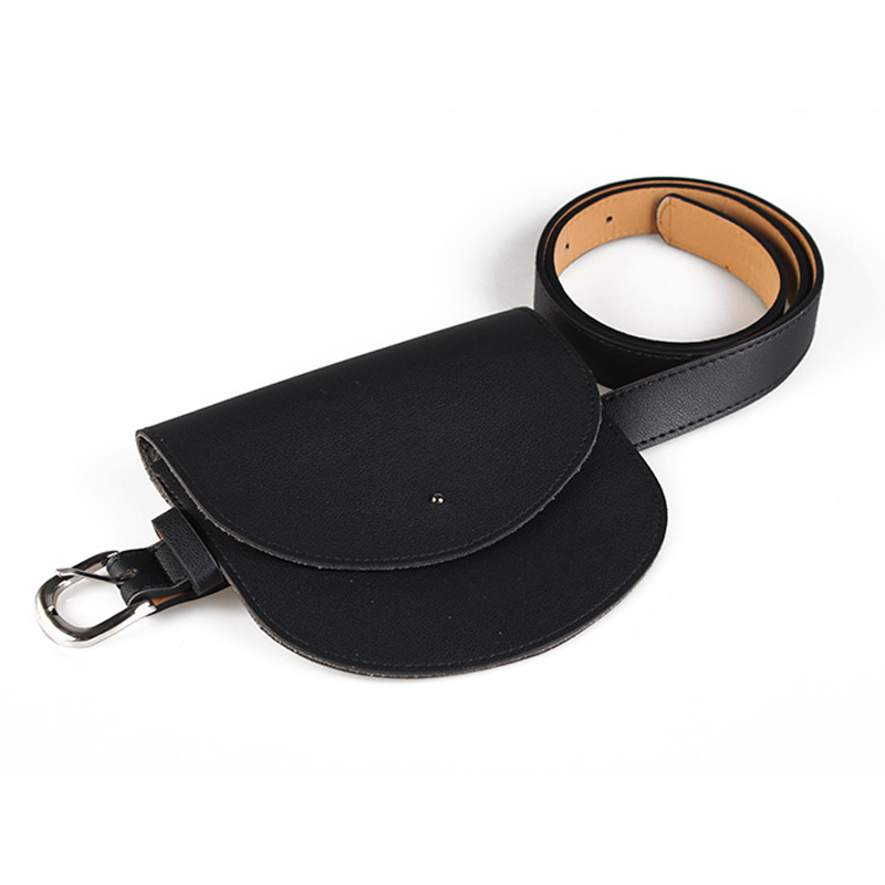 FGGS Women PU Waist Pack Belt Bag Casual Quilted Bags Female Fanny Pack Women Saddle Bag(Black)