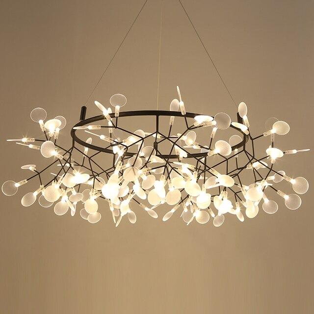 Lampe suspendue circulaire suspendue en forme de feuille darbre luciole, design moderne, éclairage dintérieur, luminaire décoratif, idéal pour un Bar ou un Restaurant, AL127B, lampe à LED