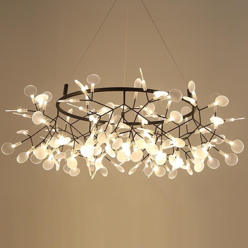 Modern LED Lamp Firefly Tree Branch Leaf Pendant Light Round Flower Suspension Lamps Art Bar Restaurant Home Lighting AL127B