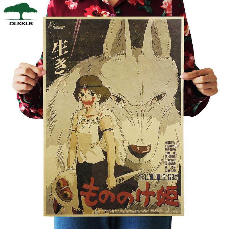 Dlkklb Hayao Miyazaki Anime Movie Poster Set Kraftpapier Cafe Bar Retro Poster Decoratieve Schilderkunst Muurstickers Home Decor