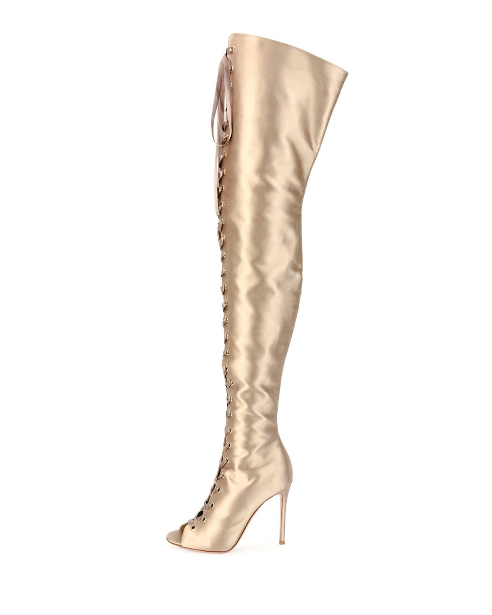 newest gold long boots 2018 spring autumn lace up thigh high boots women peep toe sexy high heels over the knee boots cut-outs newest pointed toe light blue denim high heels boots woman sexy thigh high boots cut outs gladiator boots 2017 thin heels boots