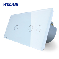 WELAIK 2 Frame Crystal Glass Panel White Black Wall Switch EU Touch Switch Light Switch 1gang1way