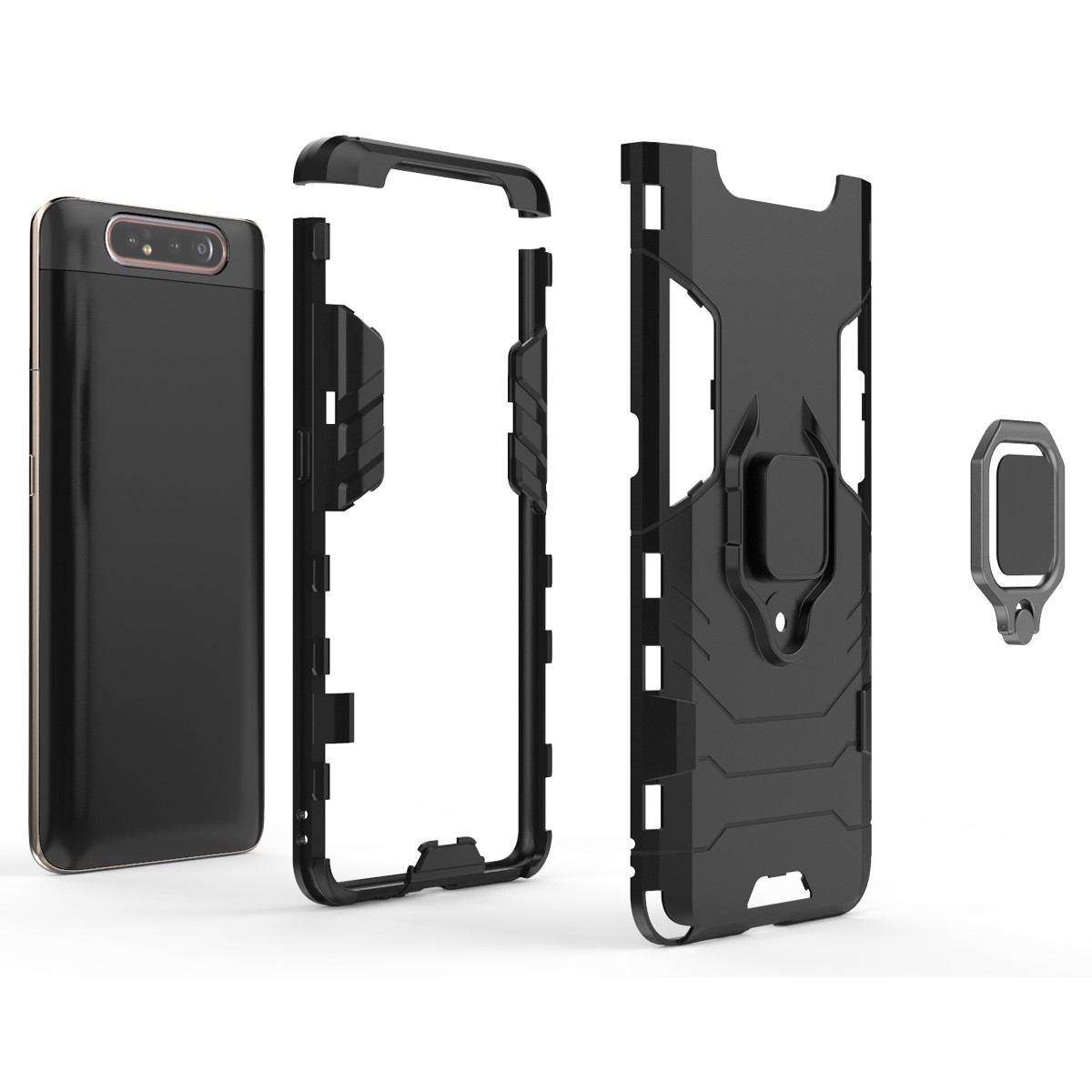 For Samsung Galaxy A80 Cases a90 Stand Holder Magnetic Car Shockproof Robot Rubber Hard Back Cover For Samsung Galaxy A90 shell in Half wrapped Cases from Cellphones Telecommunications