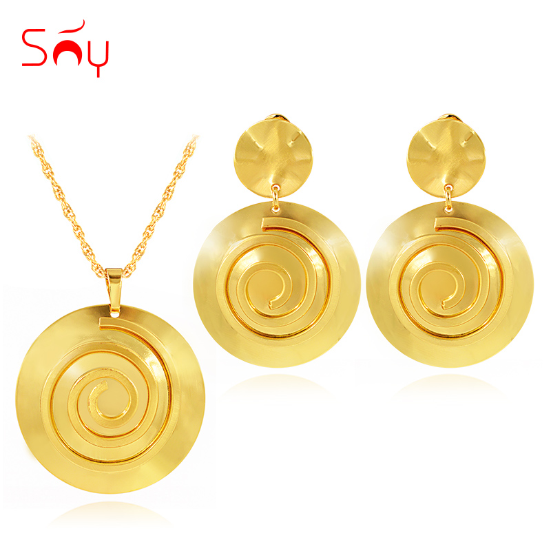 Sunny Jewelry Classic Jewelry Sets For Women Necklace Earrings Pendant Jewelry Sets For Party Wedding Round Jewelry Set Findings