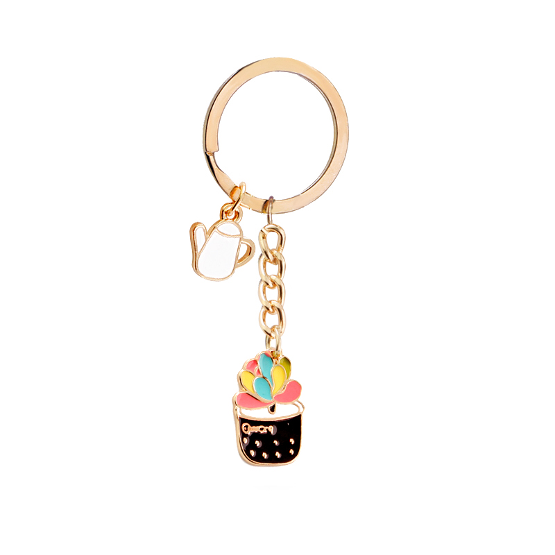 Colorful Enamel Succulent Plants Shaped Charms Potted Cactus Pendant Key Chains Car Key Ring For Women 0.6