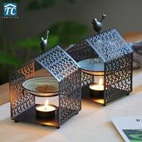 Incense Burner Metal Iron Aromatherapy Furnace Candles Holder Oil Lamp Bedroom Bird House Decorations Aroma Furnace Romantic