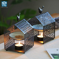 Incense Burner Metal Iron Aromatherapy Furnace Candles Holder Oil Lamp Bedroom Bird House Decorations Aroma Furnace Romantic