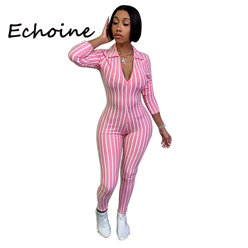 Echoine Sexy Open Up Deep V-neck Jumpsuit Color Pacthwork Striped Long Rompers Womens Jumpsuit Overalls