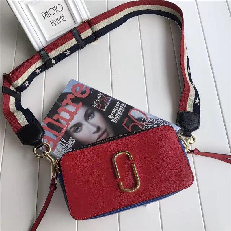 2018 New Women's Handbags Real Leather Patchwork Color Female Wide Strap High Quality Messenger Bag Brand Designer Bolsas Purse клатч brand new messenger wlhb2094 16
