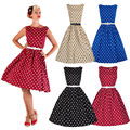 Fashion Women Sleeveless Vestido Cute Ball Gown Dot Summer Dresses O-Neck 4 Color