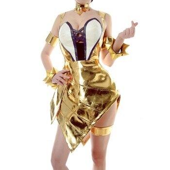 ROLECOS Game LOL Cosplay Costume Group K/DA Prestige Edition Ahri Costume Golden Sexy Dress for Women Cosplay Costume Sexy Dress 3