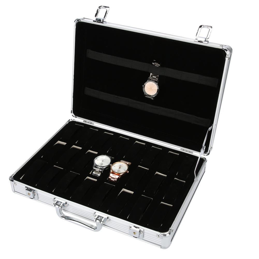 все цены на Fashion Watch Storage Box Watch Alloy Suitcase Display Organizer for Necklace Rings Bracelet 24 Grids Jewelry Box Case Casket