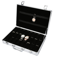 Fashion Watch Storage Box Watch Alloy Suitcase Display Organizer for Necklace Rings Bracelet 24 Grids Jewelry Box Case Casket