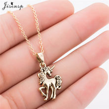 Jisensp New Cute Animal Unicorn Necklaces & Pendants Ancient Bronze Trendy Jewelry Clavicle Chain Necklace collares de moda 2018(China)