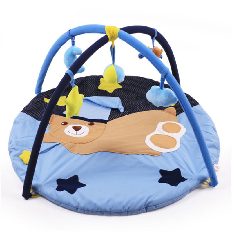Lunar Bear Pattern Baby Crawling Play Mat Thickeness 90x90 CM Padded Cotton Play Blanket Fitness Frame for Infants Home Portable