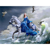 5D Diy Diamond Painting Girl Riding Horse Cloth Canvas Cross Stich Diamond Mosaic Rhinestone Diamond Embroidery