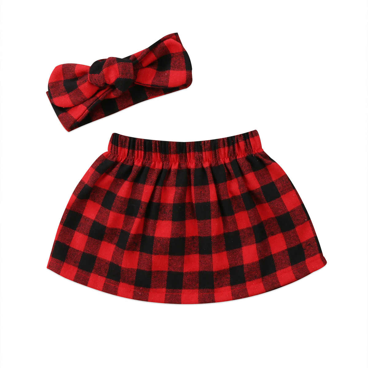 Infant Toddle Girl Long-Sleeves Jumpsuit 2pcs Christmas Clothes Sets Plaid Skirt