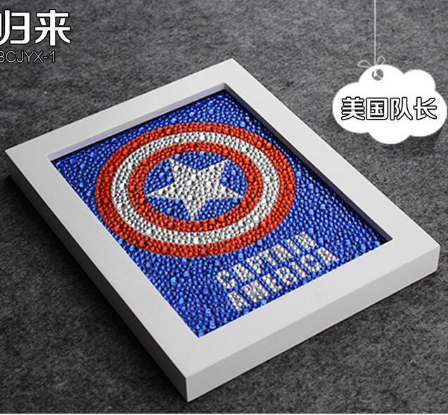 Diy 15 * 20CM Captain America 5D Diamond Painting Uşaq Zəkasını, - İncəsənət, sənətkarlıq və tikiş - Fotoqrafiya 2