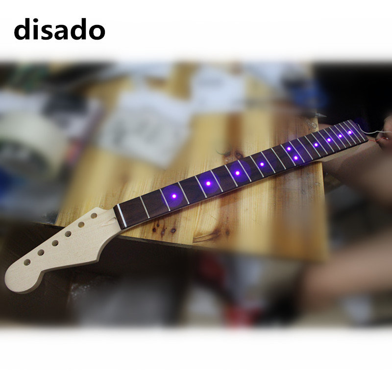 disado 21 22 24 Frets maple Electric Guitar Neck rosewood fretboard inlay LED lights guitar parts accessories two way regulating lever acoustic classical electric guitar neck truss rod adjustment core guitar parts