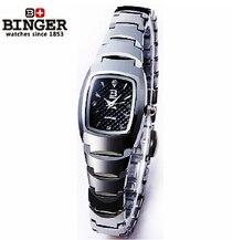 2017 Binger tungsten steel wristwatches Women's watches fashion quartz clokc tonneau rose gold full steel wristwatches BG-0365
