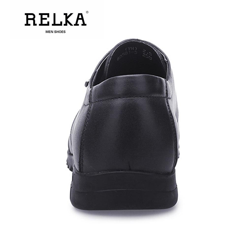 black Relka Bajo blue Punta Redonda Vintage Alta Cuero Zapatos Brown Calidad Casuales Hombres Encaje De Cómodos N17 Los Lujo Genuino Tacón Bqx7RBr